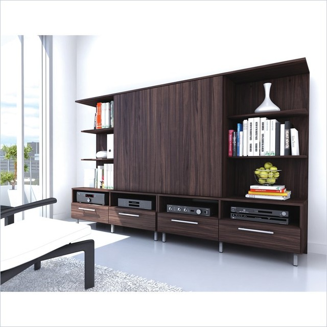 Entertainment Center in Ebony Pecan Finish - Modern - Entertainment ...