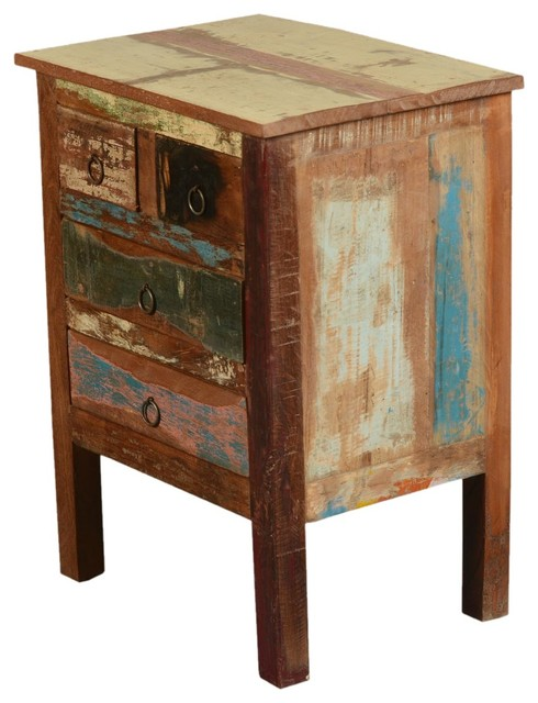 Paint box rustic reclaimed wood end table with drawers for Rustic wood accent tables