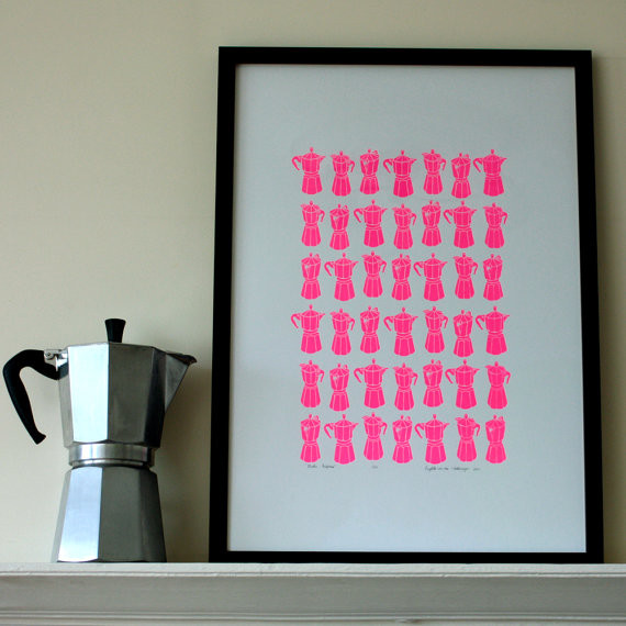 Neon Pink Moka Express Print by Mengsel Design modern artwork