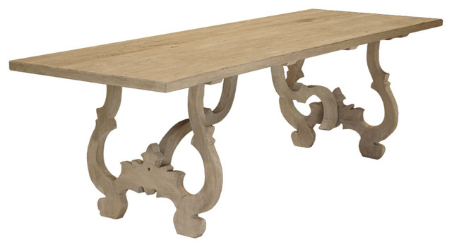 Country Carved Reclaimed Elm Wood Dining Table - Transitional - Dining ...