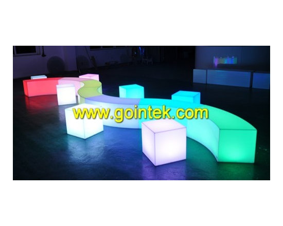 lighted bench stool chair with led lighting -