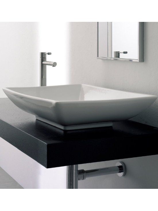 "Scarabeo - Sleek Rectangular Above Counter Ceramic Bathroom Sink by Scarabeo - Sleek contemporary white ceramic bathroom vessel sink made in Italy by Scarabeo. Above counter sink comes without overflow and has no faucet holes. Sink dimensions: 24.80"" (width), 4.70"" (height), 18.10"" (depth)"