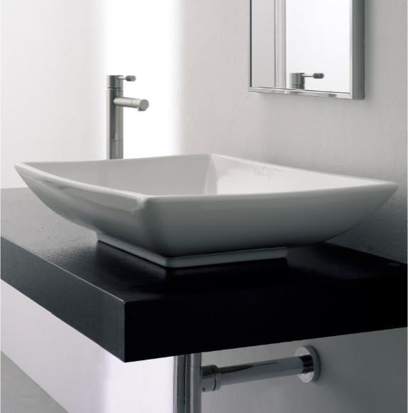 sleek rectangular above counter ceramic bathroom sink by scarabeo contemporary bathroom. Black Bedroom Furniture Sets. Home Design Ideas