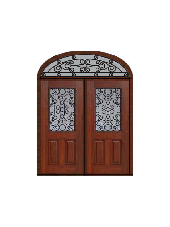 "Prehung Transom Double Door 80 Fiberglass Genoa 1/2 Lite GBG Glass - SKU#    MCT012WG_DFHGG2-EGGBrand    GlassCraftDoor Type    ExteriorManufacturer Collection    1/2 Lite Entry DoorsDoor Model    GenoaDoor Material    FiberglassWoodgrain    Veneer    Price    3885Door Size Options    2(36"")[6'-0""]  $0Core Type    Door Style    Door Lite Style    1/2 LiteDoor Panel Style    2 PanelHome Style Matching    Door Construction    Prehanging Options    PrehungPrehung Configuration    Double Door and Elliptical TransomDoor Thickness (Inches)    1.75Glass Thickness (Inches)    Glass Type    Double GlazedGlass Caming    Glass Features    Tempered glassGlass Style    Glass Texture    Glass Obscurity    Door Features    Door Approvals    Energy Star , TCEQ , Wind-load Rated , AMD , NFRC-IG , IRC , NFRC-Safety GlassDoor Finishes    Door Accessories    Weight (lbs)    753Crating Size    36"" (w)x 108"" (l)x 89"" (h)Lead Time    Slab Doors: 7 Business DaysPrehung:14 Business DaysPrefinished, PreHung:21 Business DaysWarranty    Five (5) years limited warranty for the Fiberglass FinishThree (3) years limited warranty for MasterGrain Door Panel"