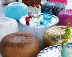 Moroccan Leather Poufs mediterranean-ottomans-and-cubes