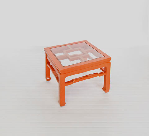 Wangright orange lacquer cocktail table eclectic for Orange coffee table