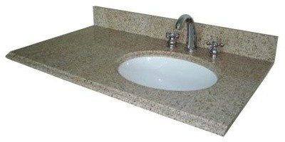 Pegasus 37 In W Granite Bathroom Vanity Top With Offset Right Bowl And 8 In Fa Contemporary