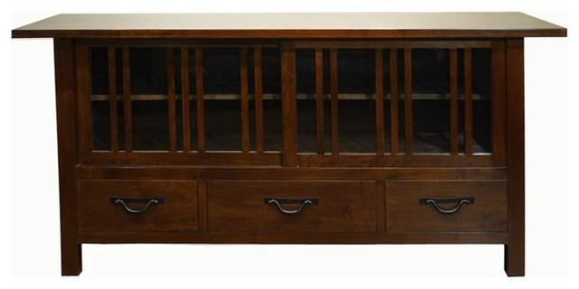 Oak Park TV Cabinet, Dark Walnut craftsman-media-storage