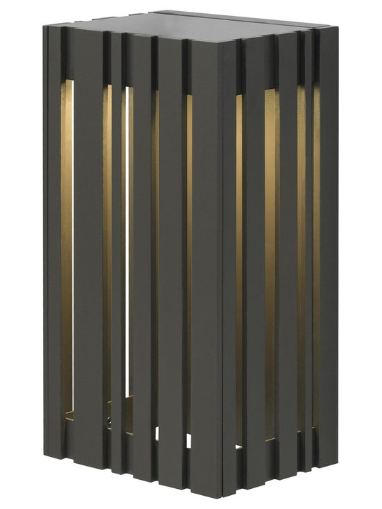 Uptown LED Outdoor Wall Sconce by LBL Lighting - Uptown LED outdoor wall sconce features vertical metal slats with a metal base. Finish available in black, bronze or silver. Available in a small or large size option.