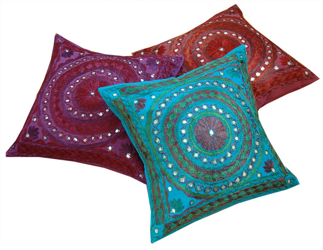 Mirrorwork Indian Cushion Covers - Asian - Home Decor - london - by ...
