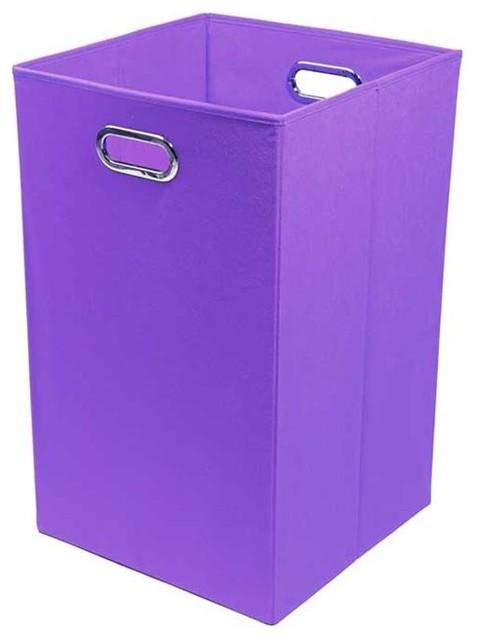 Color Pop Solid Purple Folding Laundry Basket modern-hampers