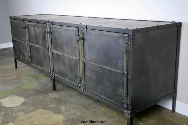 modern industrial media console credenza buffet mid century modern rustic. Black Bedroom Furniture Sets. Home Design Ideas