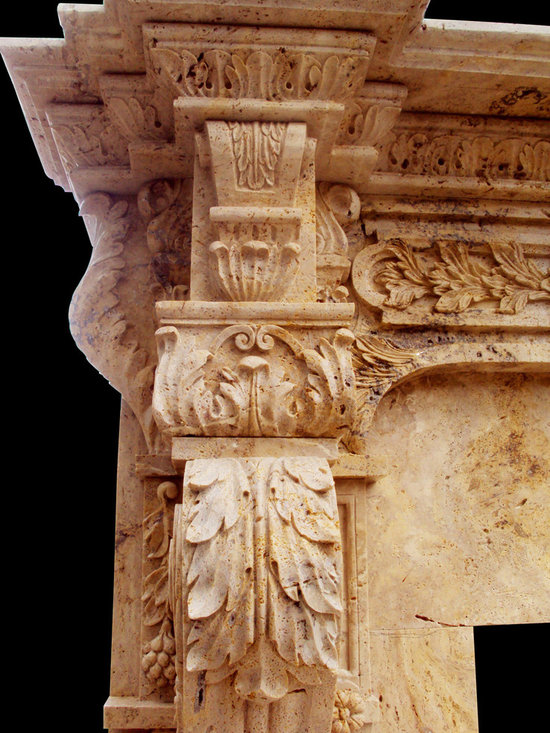 "Hand Carved Italian Marble Fireplace Surrounds Custom Designed, Honed Travertine - Bloss Stoneworks Co.                                                          Large Acanthus Leaf Detail "" S"" Corbels, Hand Carved Travertine, perfect for embracing corners of Kitchen Hoods and Kitchen Islands.Hand Carved to your specific dimensions!"