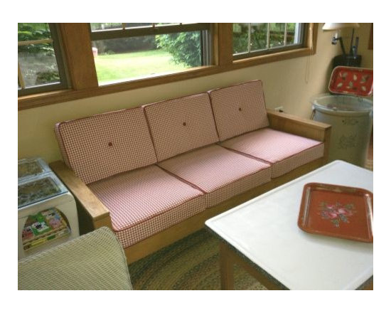 """Sofa and Chair Replacement Cushions - I """"married"""" this sofa 35 yrs ago. With it's new cushions, it's still a perfect fit for our sunroom. Fabric: Robert Allen Square Pegs Sable (RA-186531) & Welting: Robert Allen Success Currant (RA-81819) (Customer Photo)"""