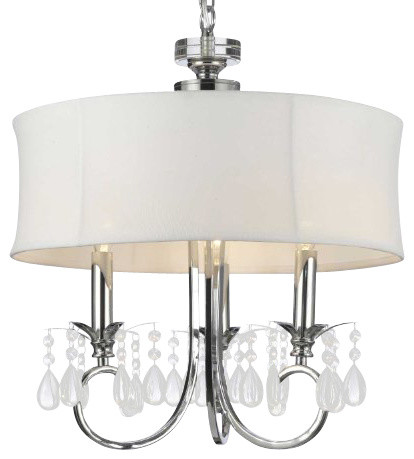 Fabric Shade 3-Light Crystal chandelier Lighting traditional-chandeliers