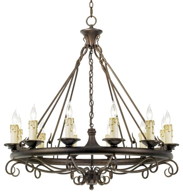 Country - Cottage Rodeo Collection Round Twelve Light Chandelier traditional-chandeliers