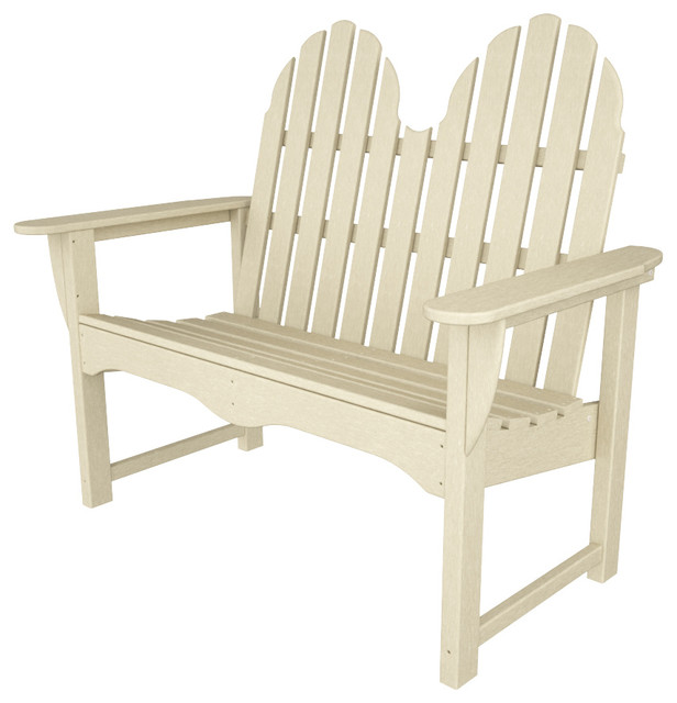 Adirondack Bench Sand All Weather Outdoor Recycled Plastic Furniture Beach Style Outdoor