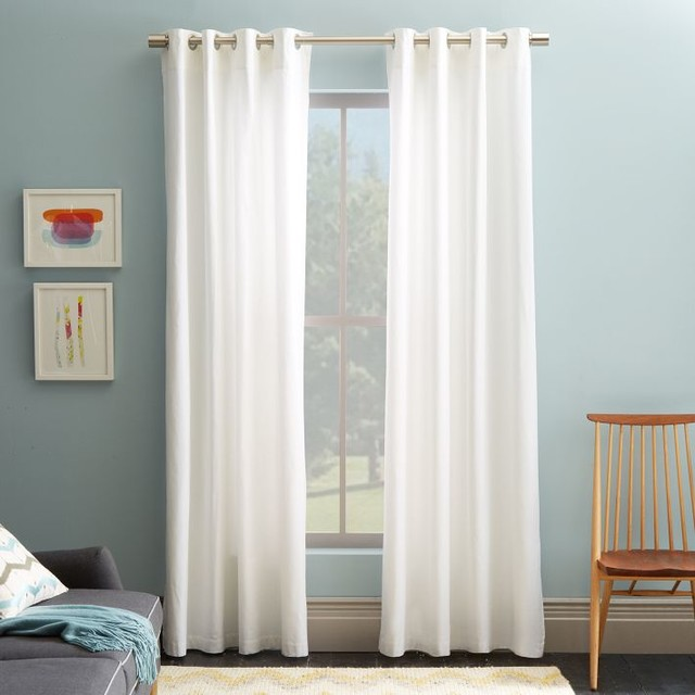White Linen Curtain Panels White Embroidered C