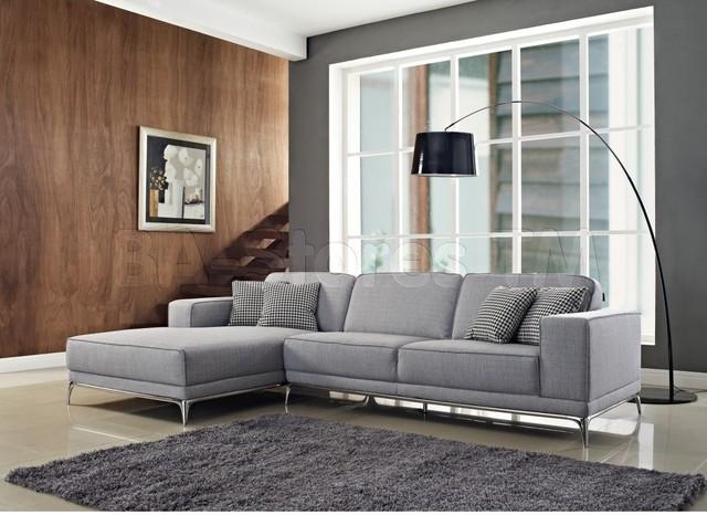 Agata light grey woven fabric sectional sofa for Modern light grey fabric sectional sofa