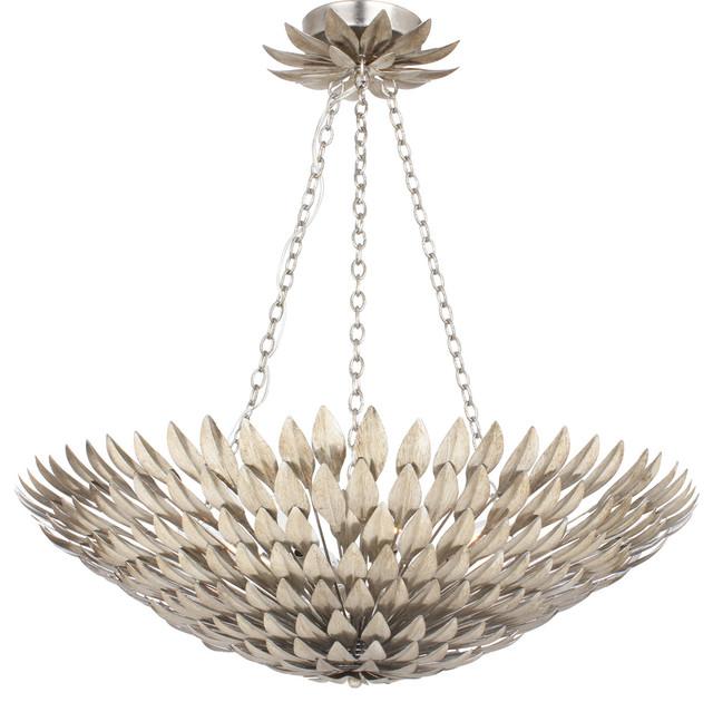 Crystorama 519-SA Broche 8 Light Pendants in Antique Silver contemporary-pendant-lighting