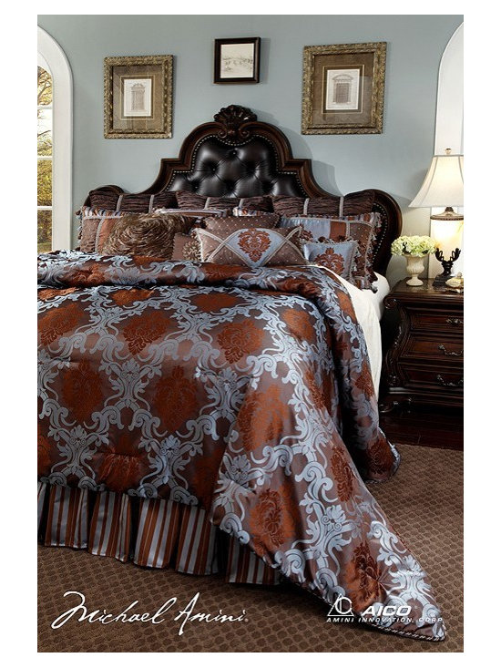 AICO Furniture - Bellingham Court Luxury Bedding Sets - BCS-KS13-BELLING-CHO - Exclusive Michael Amini Series Design from AICO