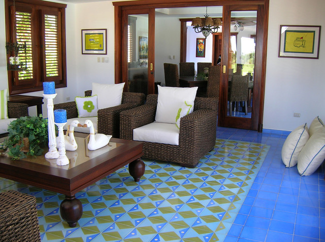 cement tile mediterranean living room
