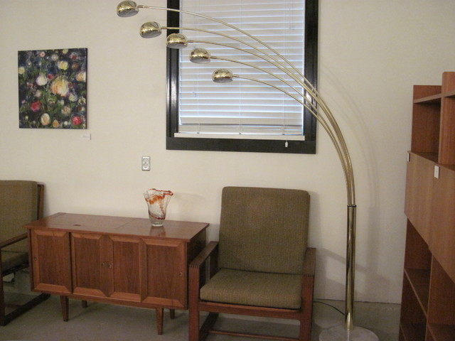 Vintage Brass Arc Lamp With Marble Base modern floor lamps