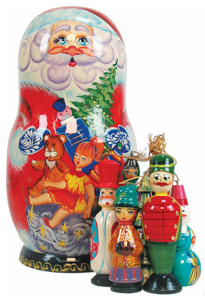 Russian Christmas Traditional Decorations : Artistic wood carved russian matreshka santa claus doll