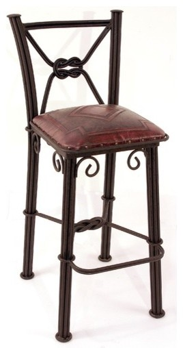 Western Iron Barstool With Back In Antique Red Modern