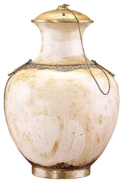 Greige Urn with Carved Stone Lid and Base transitional-home-decor