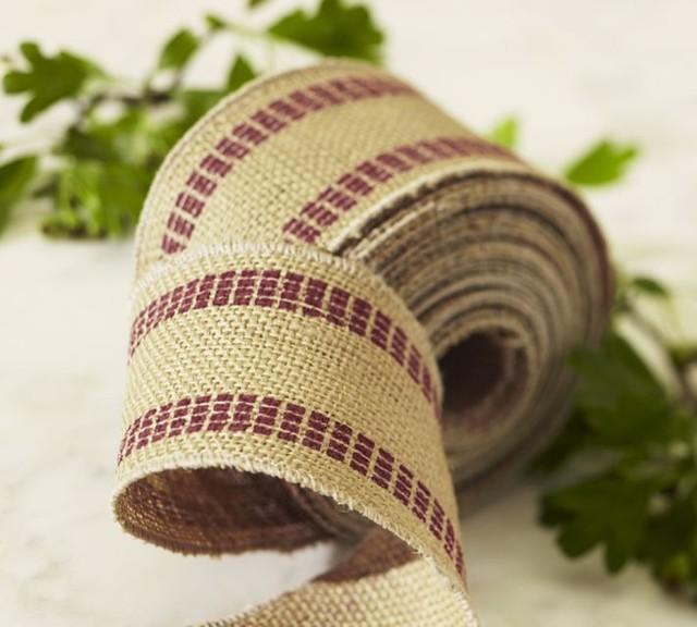 Burlap Stripe Ribbon contemporary-christmas-decorations