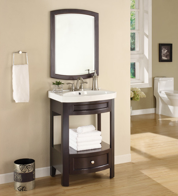 Austin Espresso Sink and Mirror Vanity Set contemporary bathroom vanities and sink consoles