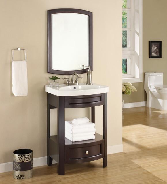 Austin Espresso Sink And Mirror Vanity Set Contemporary Bathroom Vanity U