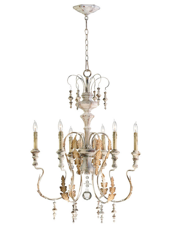 Kathy Kuo Home - Marion French Country White Washed 6 Light Chandelier - The Marion chandelier is inspired by the antique rural reproductions of centuries- old aristocratic European design.  Featuring imperfectly formed scrolling arms, wood accented bobeches and finials, this endearing creation pays homage to Baroque styling but in the primitive manner found in the rural European Farmhouses of centuries past
