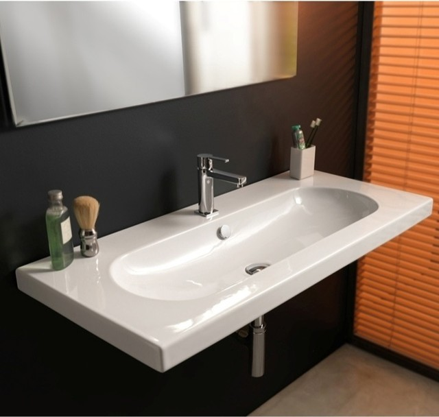 Sink In Wall : Wall Mounted, Vessel, or Built-In Sink - Contemporary - Bathroom Sinks ...