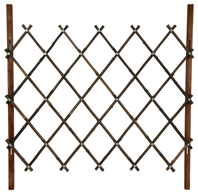 3 Ft Tall Diamond Bamboo Fence Walnut Traditional