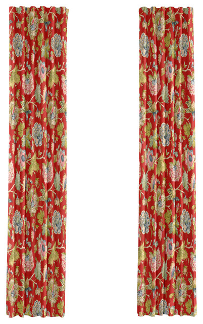 Red & Aqua Watercolor Floral Custom Drapery Single Panel traditional-curtains
