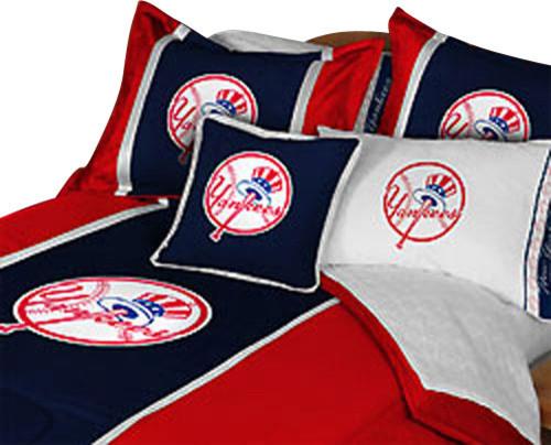MLB New York Yankees Football Queen Full Bed Comforter Set Contemporary K