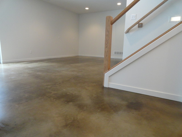 stained concrete basement floor modern basement indianapolis