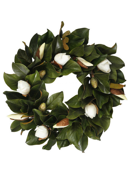 Winward Designs - Magnolia Bud Wreath 24 inch - Our Timeless Magnolia Bud Wreath showcases the exquisite buds of these white flowers. Welcome your guests with timeless beauty. Perfect on a door or wall.