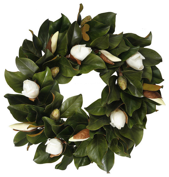 Magnolia Bud Wreath 24 inch contemporary-wreaths-and-garlands