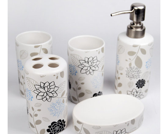 Elegant Flowers Design Ceramic Bath Accessory Set - Serve as a fashionable home decoration. The luxury bathroom accessories set is the best choice for you. A look at the luxury bathroom accessories in the morning or at night will cheer you up immediately, making your mood and dream happier and sweeter.Whether enjoying a soothing bubble bath or simply getting ready for a night out, a well-appointed bathroom will be a place you'll want to linger. Bath Accessory Sets with coordinating Fabric Shower Curtains,Accessories Set,Towel ,Slippers and Shower hooks create that total bathroom look.