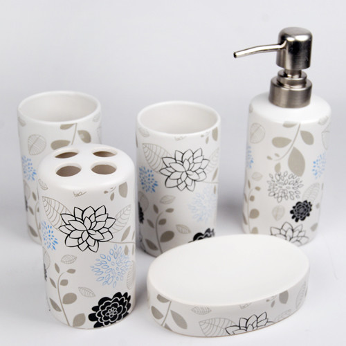 Elegant flowers design ceramic bath accessory set for Bathroom accessory sets