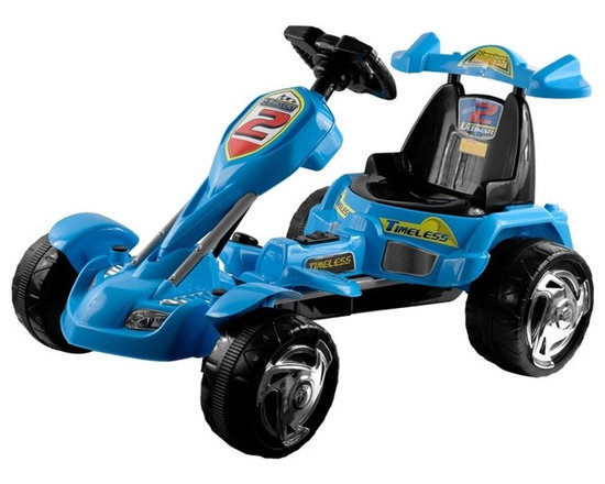 Lil Rider - Lil' Rider Battery Operated Blue Ice Go-Kart - Bright Colors: Blue and Yellow. Battery: Sealed and Dry Style 6V 7AH. Top Speed: 2 MPH. Weight Capacity: 55 lbs.. Sound Effects: Horn & Music . Sound Effects Require 3 AA Batteries - Not Included. Forward and Reverse. Bucket Seat with high back . Battery: Sealed 6V 10Ah . AC/DC Recharging Adaptor. Washable tires . Battery Operated . Ages 3-7. Dimensions: 38 in. L x 26 in. W x 22.5 in. in HKids on-the-go will have a blast with this incredible Lil' Rider Blue Ice Battery Operated Go-Kart! From its high-backed bucket seat to its low-riding comfort, this baby is packed with delightful touches. Kids press the pedal on the floor to get goin', and turn the steering wheel to make sharp turns. Butterfly steering wheel makes it easy for little hands to steer and features buttons for sound effects.