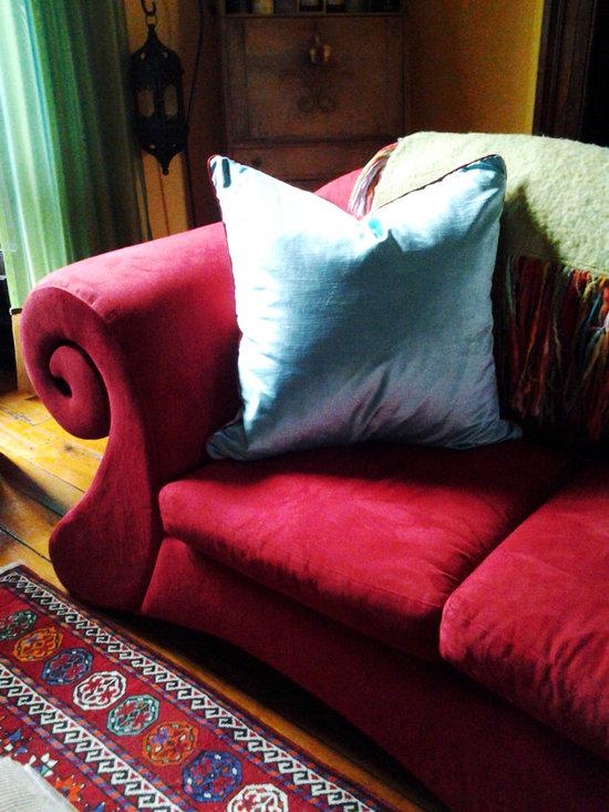 Turquoise velvet cushion -