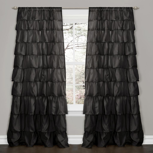 lush decor black 84 inch ruffle curtain panel