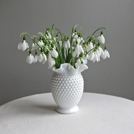 Fenton Hobnail Milk Glass Vase, Medium by Barking Sands Vintage modern-vases