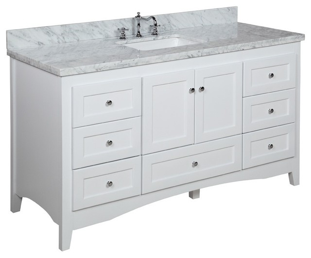 Creative Ivory White 60inch Double Sink Bathroom Vanity With Natural Granite