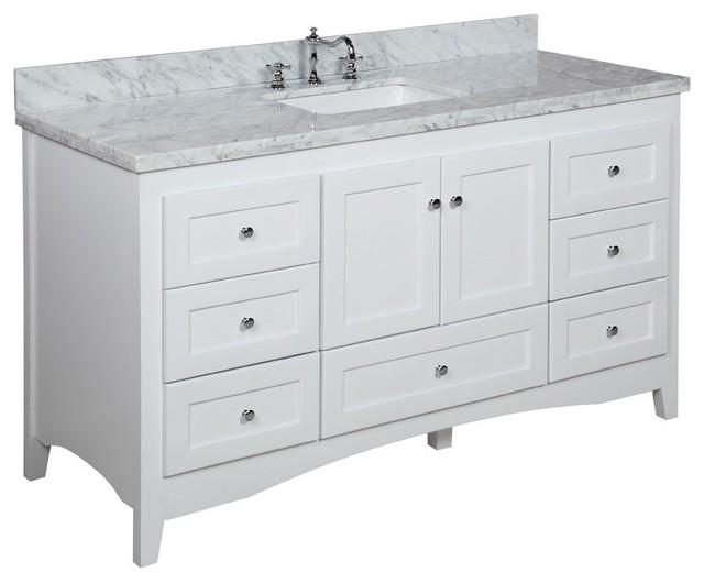 Abbey 60-in Single Sink Bath Vanity (Carrara/White) - Transitional - Bathroom Vanities And Sink ...