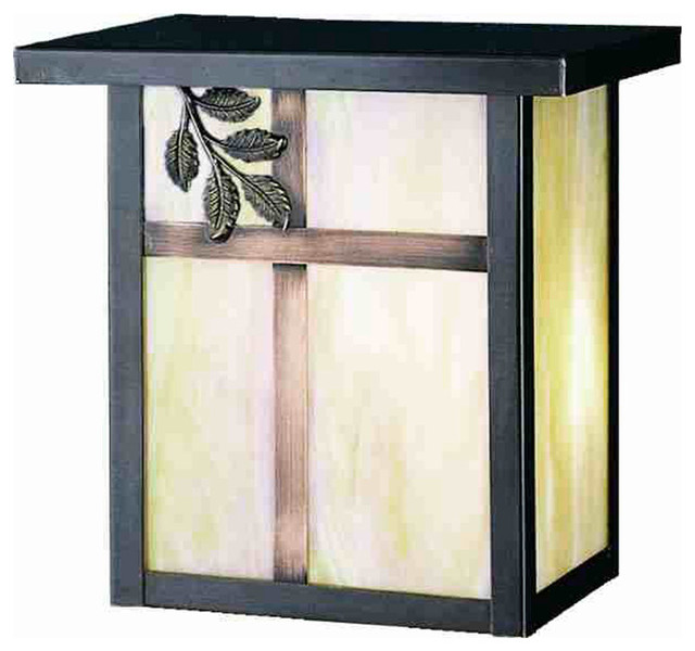 """Meyda Lighting 43233 8""""W Hyde Park Single Branch Leaf Wall Sconce traditional-outdoor-lighting"""